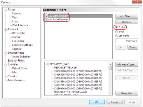 Configurar lav filters en MPC-HC
